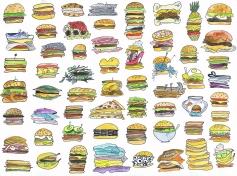 Burgers - Watercolor on Bristol